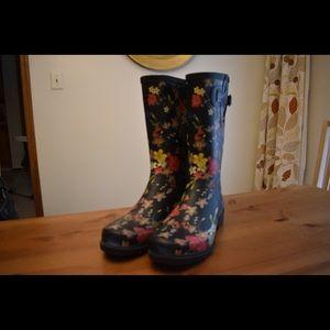 Shoes - Black Floral Rain Boots